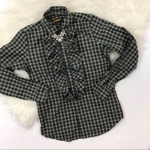 Rugby by Ralph Lauren Ruffle Plaid Button Up